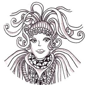 Angel face - Example of Zen of Doodling by Penelope Thompson, Explore Creativity