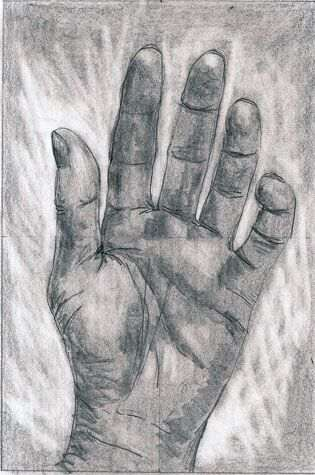 Pencil drawing of hand-example of Drawing on the right side of the brain using viewfinder by Penelope Thompson-Explore Creativity